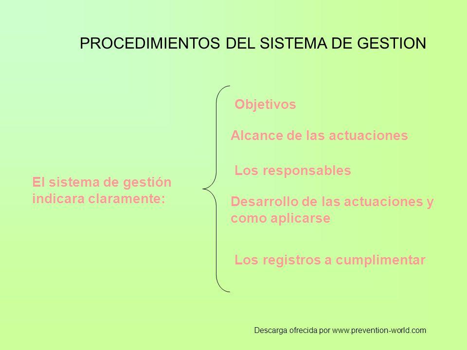 PROCEDIMIENTOS DEL SISTEMA DE GESTION El sistema de gestión indicara claramente: Objetivos Alcance de las actuaciones Los responsables Desarrollo de las actuaciones y como aplicarse Los registros a cumplimentar Descarga ofrecida por www.prevention-world.com