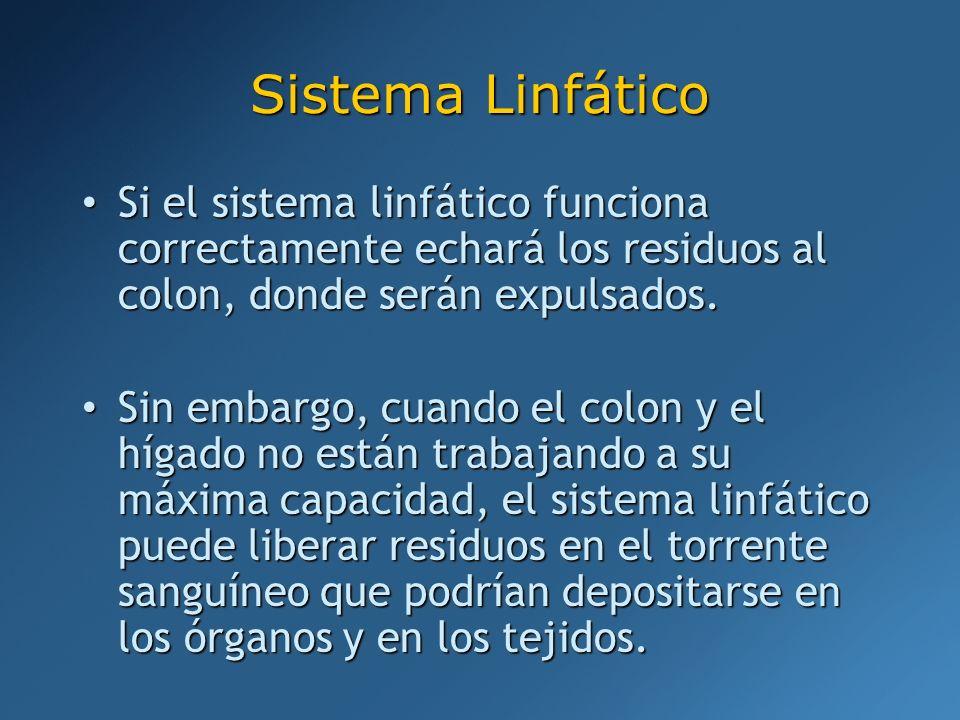 Si el sistema linfático funciona correctamente echará los residuos al colon, donde serán expulsados. Si el sistema linfático funciona correctamente ec