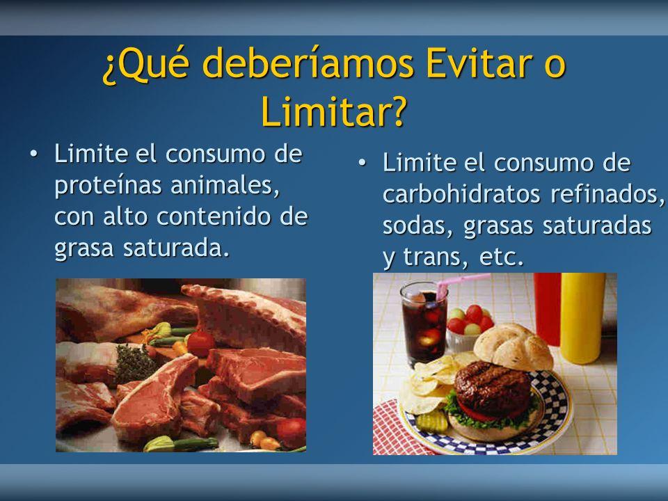 ¿Qué deberíamos Evitar o Limitar? Limite el consumo de proteínas animales, con alto contenido de grasa saturada. Limite el consumo de proteínas animal