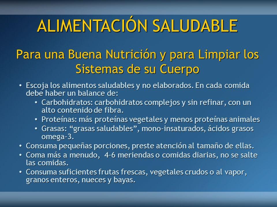 Para una Buena Nutrición y para Limpiar los Sistemas de su Cuerpo Escoja los alimentos saludables y no elaborados. En cada comida debe haber un balanc