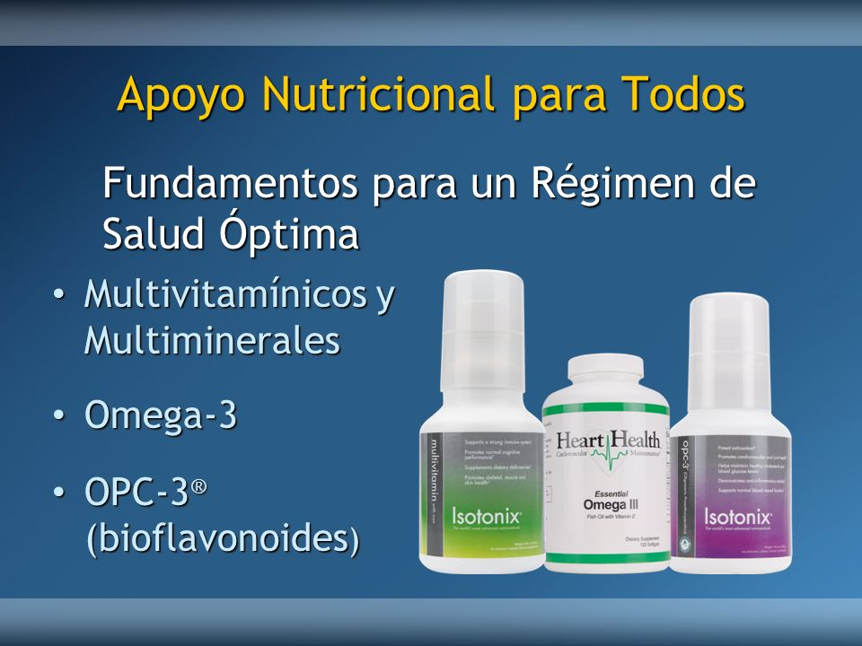 Apoyo Nutricional para Todos Multivitamínicos y Multiminerales Multivitamínicos y Multiminerales Omega-3 Omega-3 OPC-3 ® (bioflavonoides ) OPC-3 ® (bi