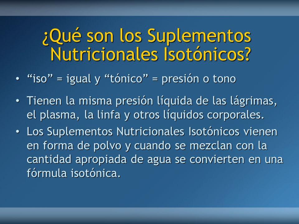 ¿Qué son los Suplementos Nutricionales Isotónicos? ¿Qué son los Suplementos Nutricionales Isotónicos? iso = igual y tónico = presión o tonoiso = igual