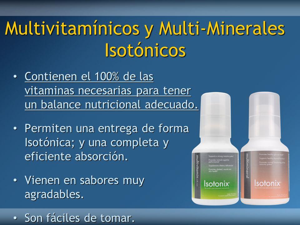 Multivitamínicos y Multi-Minerales Isotónicos Contienen el 100% de las vitaminas necesarias para tener un balance nutricional adecuado. Contienen el 1