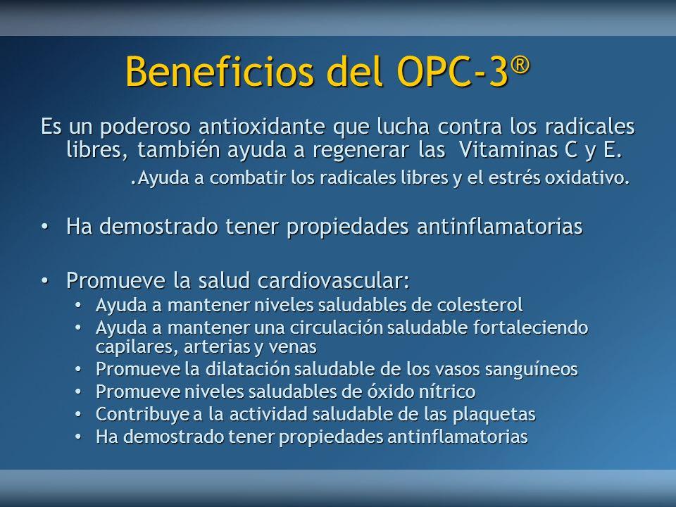 Beneficios del OPC-3 ® Es un poderoso antioxidante que lucha contra los radicales libres, también ayuda a regenerar las Vitaminas C y E.. Ayuda a comb