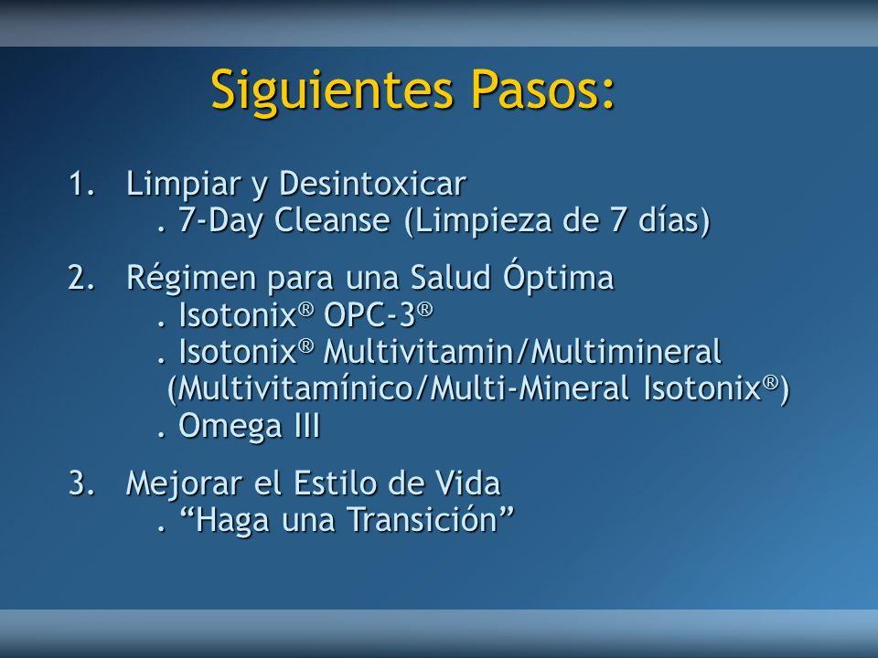Siguientes Pasos: 1.Limpiar y Desintoxicar. 7-Day Cleanse (Limpieza de 7 días) 2.Régimen para una Salud Óptima. Isotonix ® OPC-3 ®. Isotonix ® Multivi