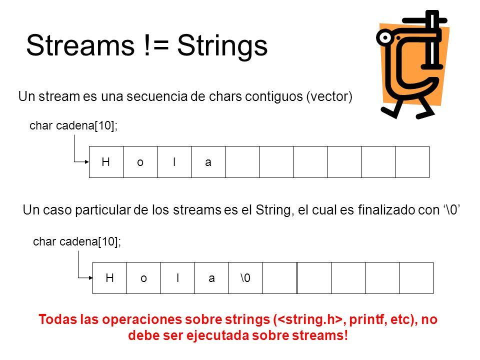 Streams != Strings Hola char cadena[10]; Un stream es una secuencia de chars contiguos (vector) Un caso particular de los streams es el String, el cual es finalizado con \0 Hola\0 char cadena[10]; Todas las operaciones sobre strings (, printf, etc), no debe ser ejecutada sobre streams!