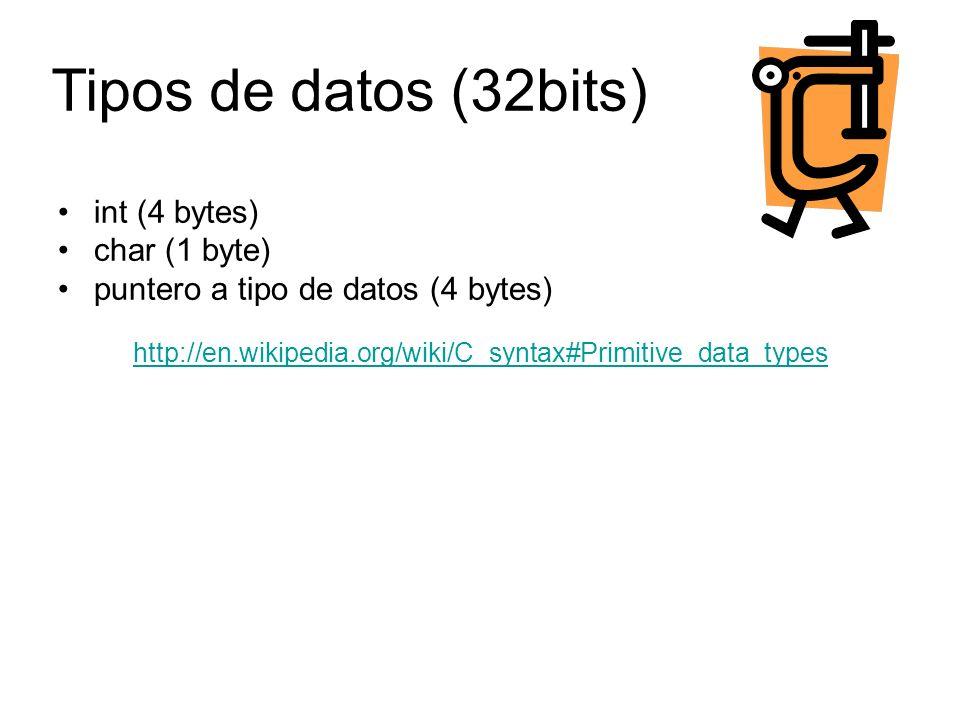 int (4 bytes) char (1 byte) puntero a tipo de datos (4 bytes) http://en.wikipedia.org/wiki/C_syntax#Primitive_data_types Tipos de datos (32bits)