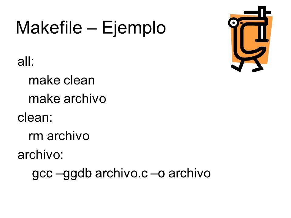 debian:~/charlasC# make make clean make[1]: Entering directory `/root/charlasC rm archivo make[1]: Leaving directory `/root/charlasC make archivo make[1]: Entering directory `/root/charlasC gcc -ggdb archivo.c -o archivo make[1]: Leaving directory `/root/charlasC debian:~/charlasC# http://es.wikipedia.org/wiki/Make