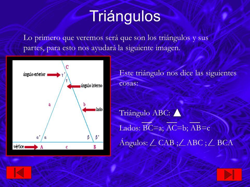 Según sus lados: 1) Equilátero AB BC AC Triángulos Clasificación de los triángulos