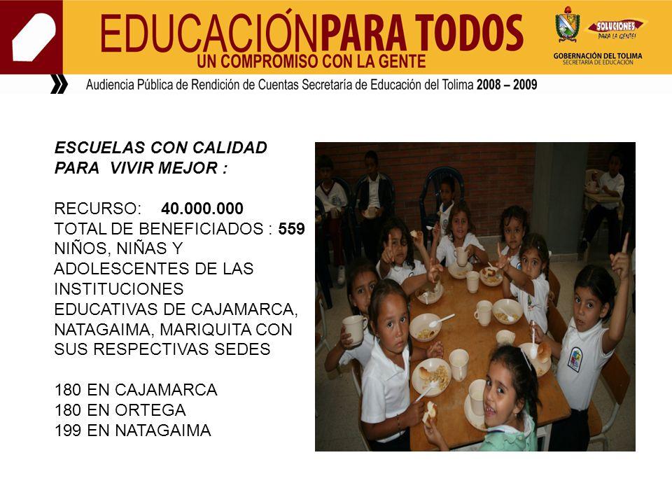 ESCUELAS CON CALIDAD PARA VIVIR MEJOR : RECURSO: 40.000.000 TOTAL DE BENEFICIADOS : 559 NIÑOS, NIÑAS Y ADOLESCENTES DE LAS INSTITUCIONES EDUCATIVAS DE