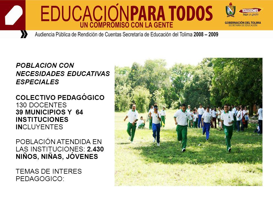POBLACION CON NECESIDADES EDUCATIVAS ESPECIALES COLECTIVO PEDAGÓGICO 130 DOCENTES 39 MUNICIPIOS Y 64 INSTITUCIONES INCLUYENTES POBLACIÓN ATENDIDA EN L