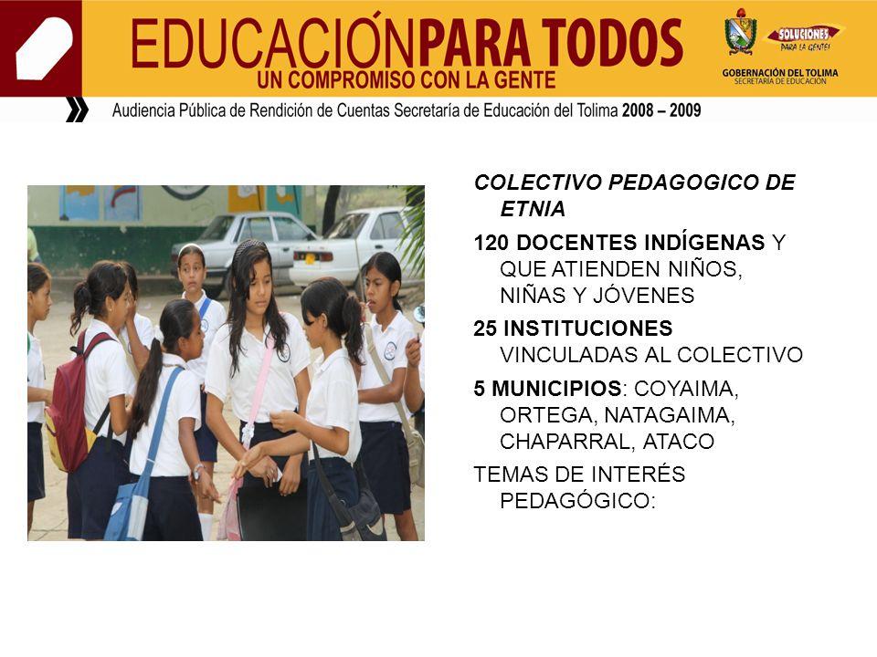 COLECTIVO PEDAGOGICO DE ETNIA 120 DOCENTES INDÍGENAS Y QUE ATIENDEN NIÑOS, NIÑAS Y JÓVENES 25 INSTITUCIONES VINCULADAS AL COLECTIVO 5 MUNICIPIOS: COYA