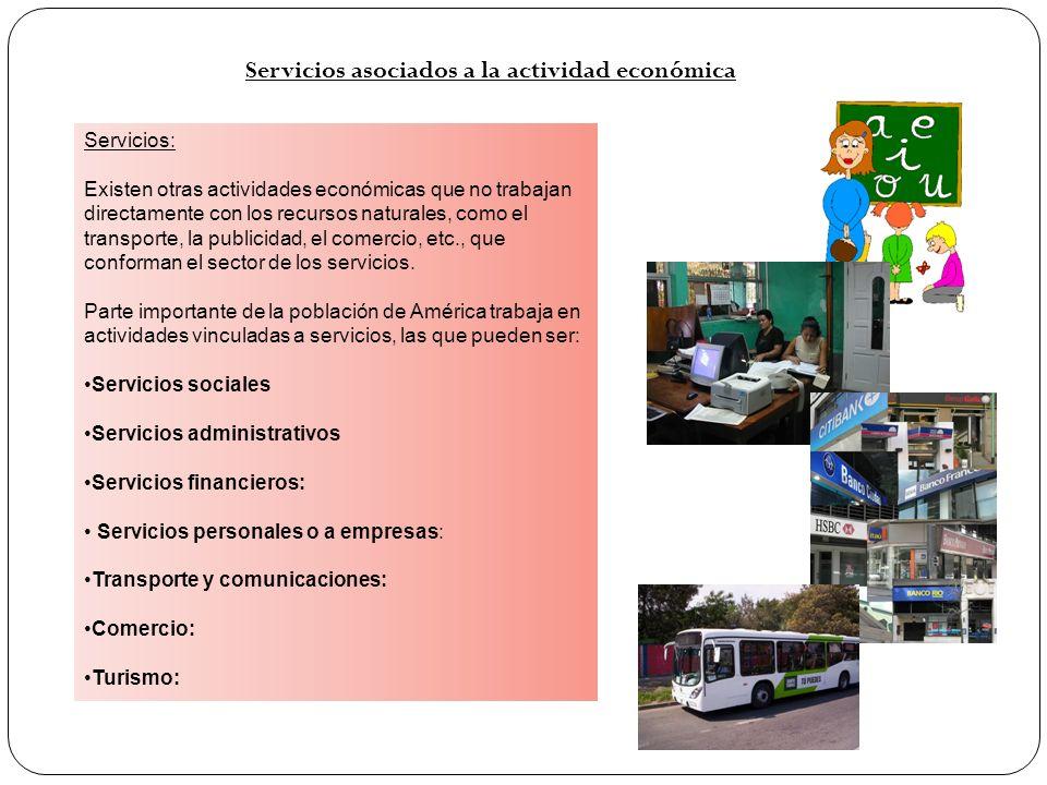 Servicios: Existen otras actividades económicas que no trabajan directamente con los recursos naturales, como el transporte, la publicidad, el comerci
