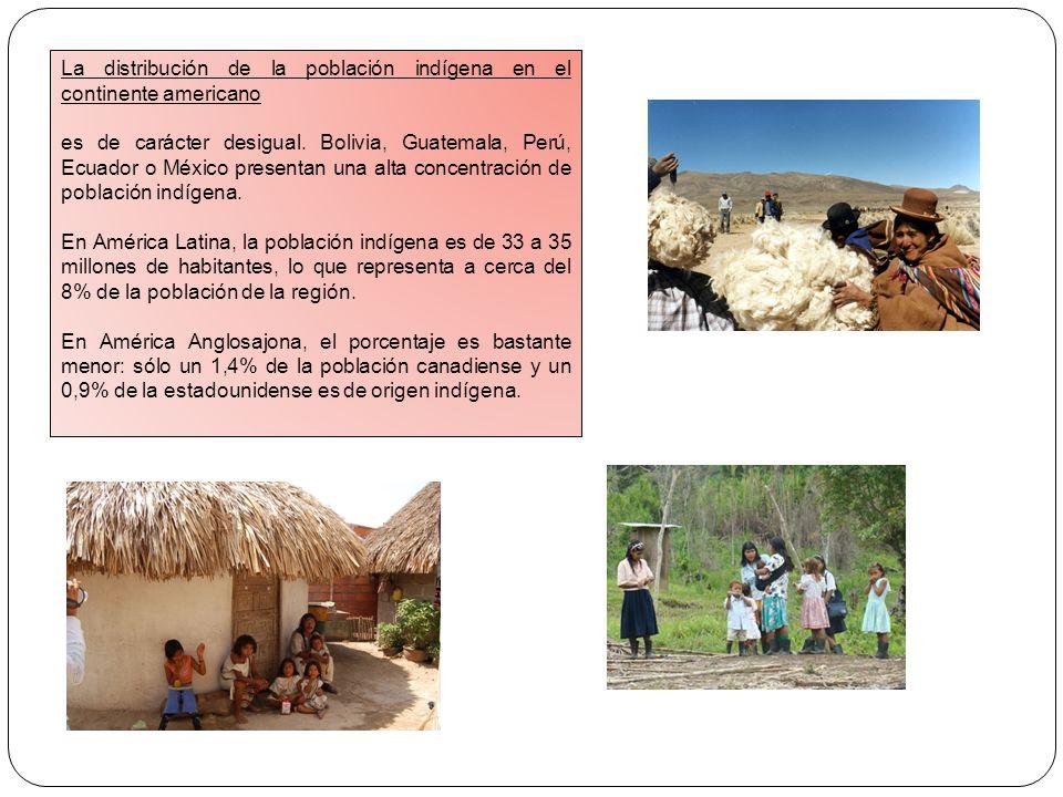 La distribución de la población indígena en el continente americano es de carácter desigual. Bolivia, Guatemala, Perú, Ecuador o México presentan una