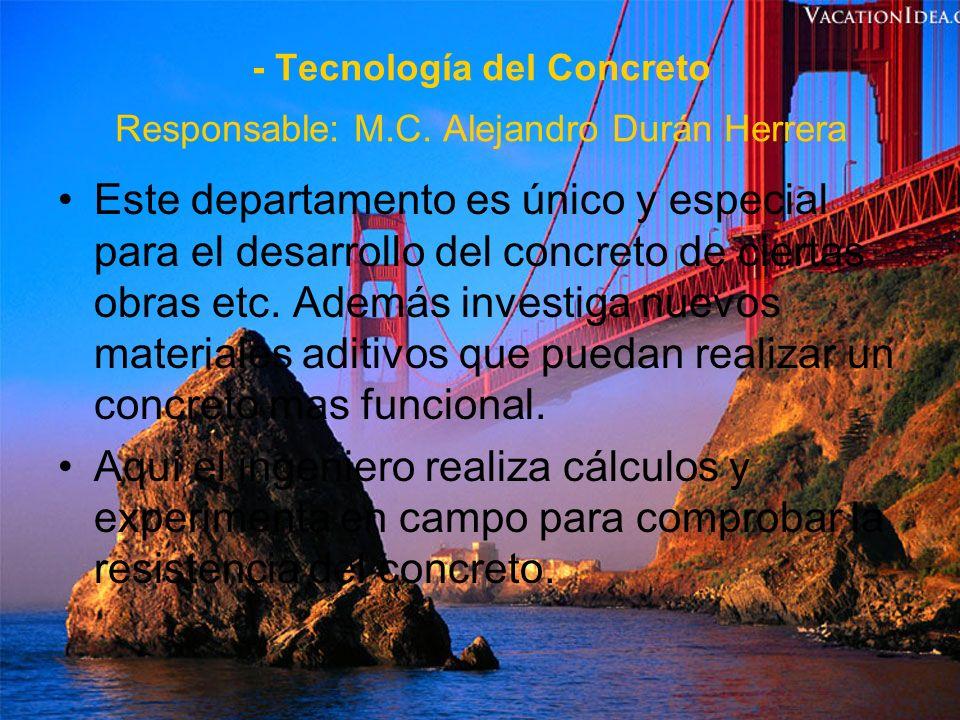 - Topografía Responsable: Ing Ángel Ervey Martínez Este departamento estudia el conjunto de procedimientos para determinar la posición de un punto sobre la superficie de la Tierra, tanto en planimetría como en altimetría, incluyendo relieves etc.