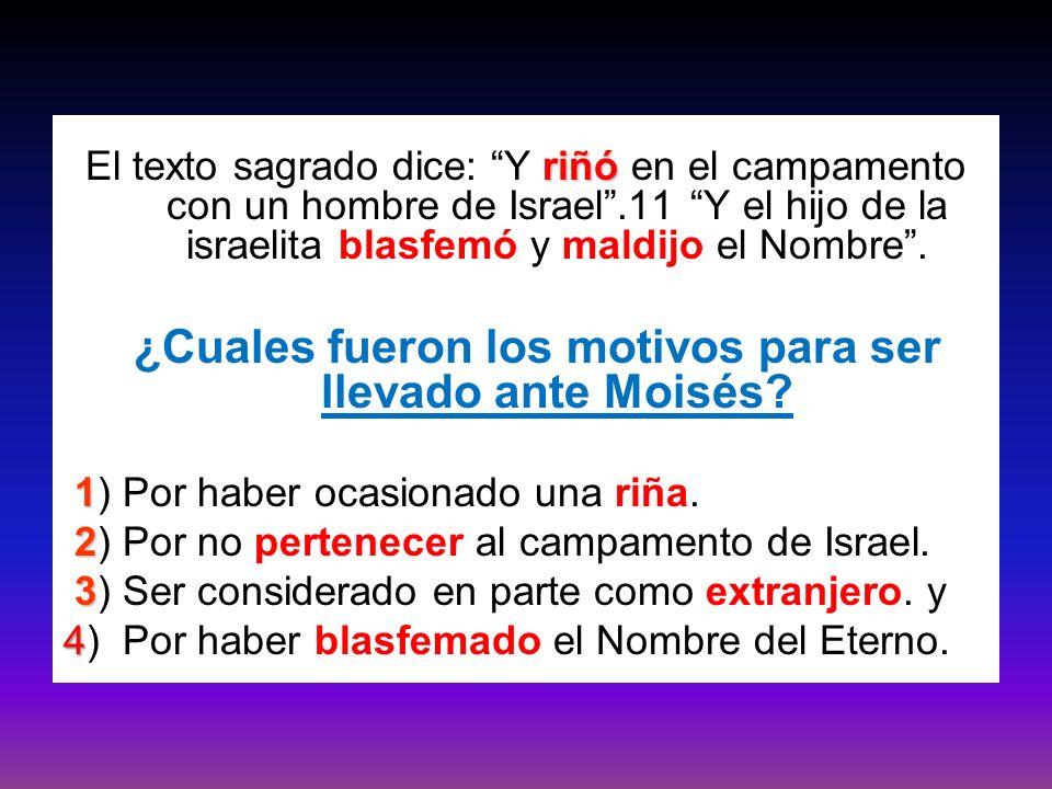 riñó El texto sagrado dice: Y riñó en el campamento con un hombre de Israel.11 Y el hijo de la israelita blasfemó y maldijo el Nombre. ¿Cuales fueron