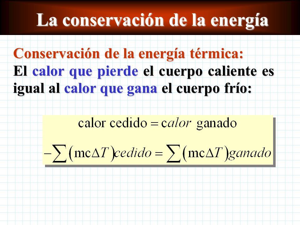 La conservación de la Energía La dirección de transferencia de energía térmica siempre es de los cuerpos calientes a los fríos: T mayor T menor Princi