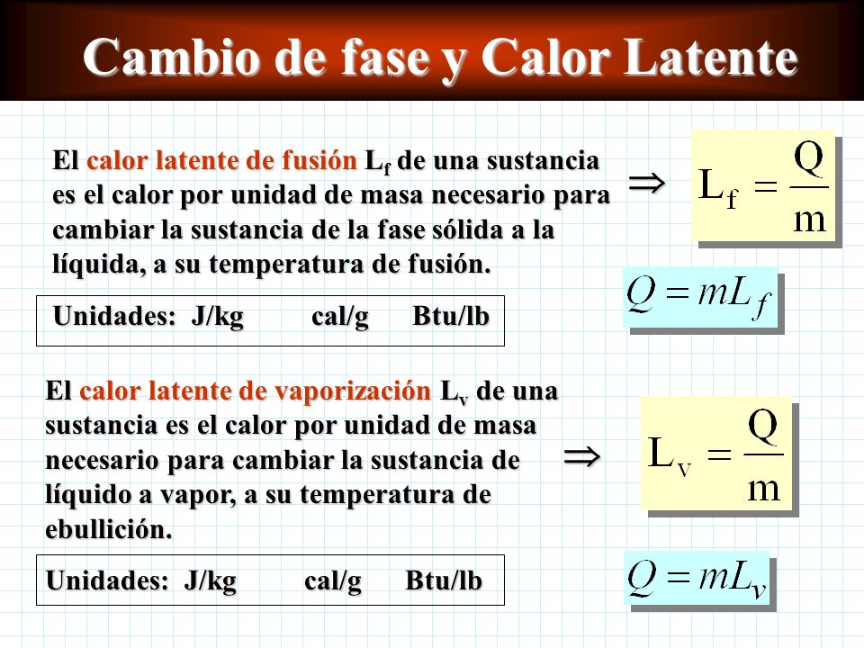 Ejemplo de conservación de la energía Considerando la capacidad calorífica del recipiente: m cal = masa del calorímetro c cal = calor específico del c