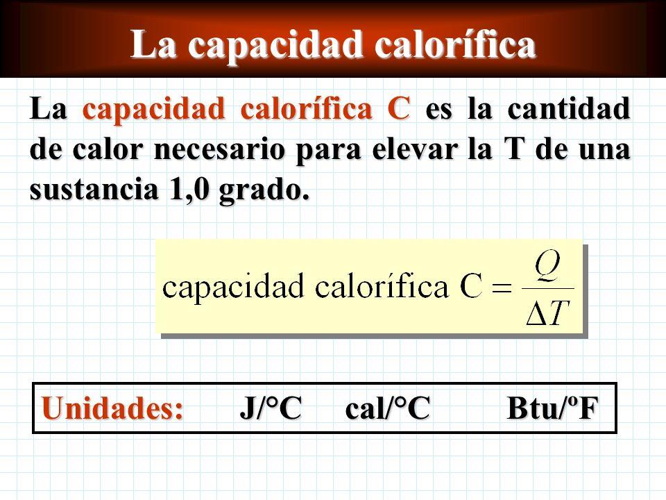 La capacidad calorífica La capacidad calorífica C es la cantidad de calor necesario para elevar la T de una sustancia 1,0 grado.