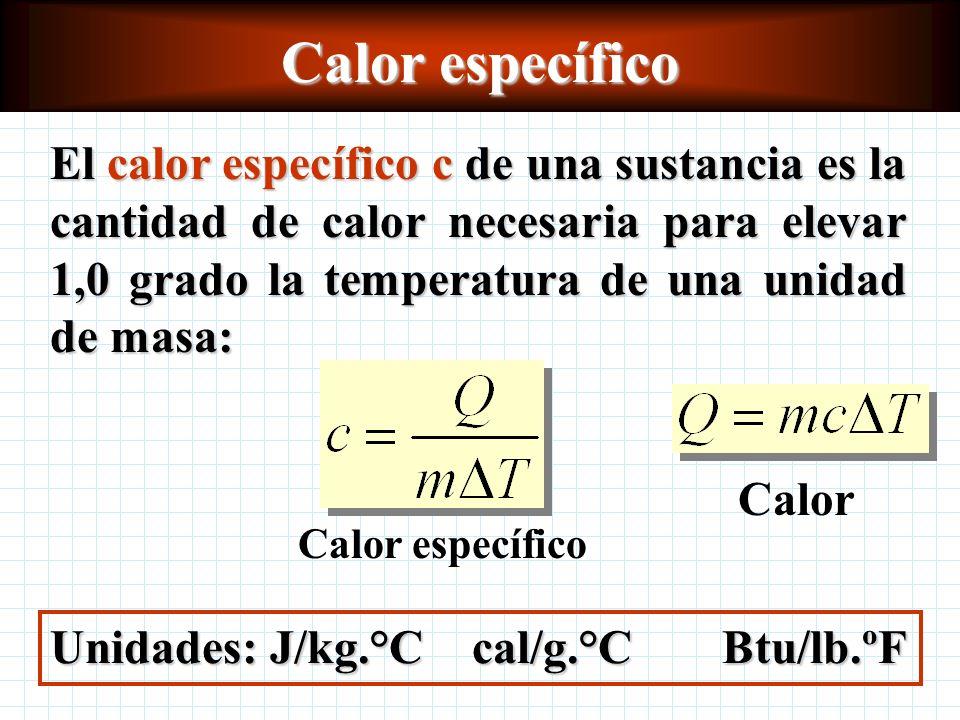 Calor específico El calor específico c de una sustancia es la cantidad de calor necesaria para elevar 1,0 grado la temperatura de una unidad de masa: Unidades: J/kg.°C cal/g.°CBtu/lb.ºF Calor específico Calor