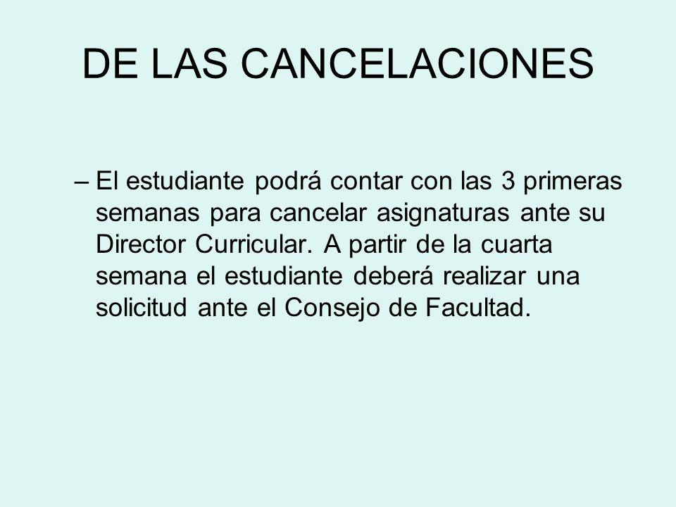 DE LAS CANCELACIONES –El estudiante podrá contar con las 3 primeras semanas para cancelar asignaturas ante su Director Curricular. A partir de la cuar
