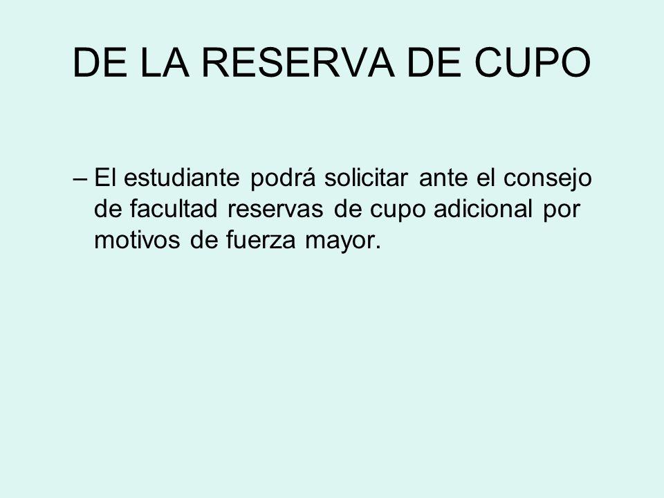 DE LA RESERVA DE CUPO –El estudiante podrá solicitar ante el consejo de facultad reservas de cupo adicional por motivos de fuerza mayor.