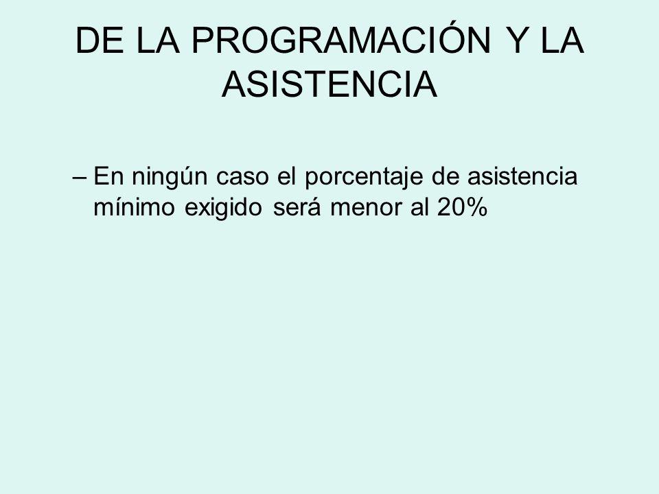 DE LA PROGRAMACIÓN Y LA ASISTENCIA –En ningún caso el porcentaje de asistencia mínimo exigido será menor al 20%