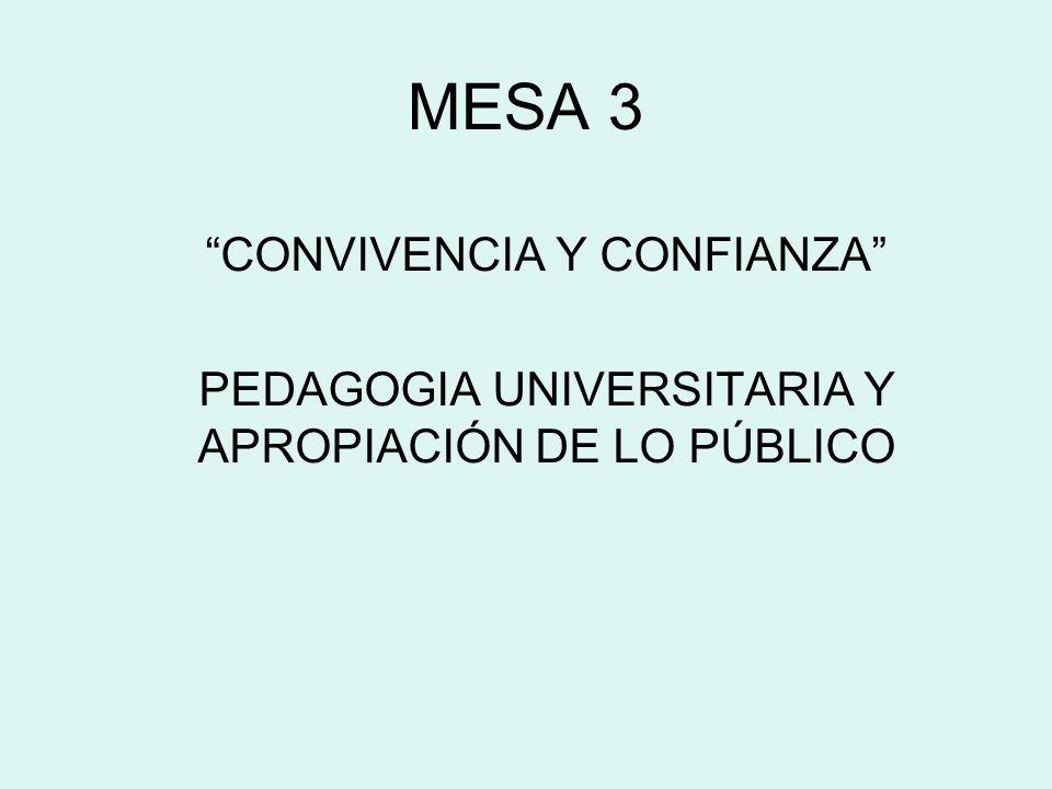 MESA 3 CONVIVENCIA Y CONFIANZA PEDAGOGIA UNIVERSITARIA Y APROPIACIÓN DE LO PÚBLICO