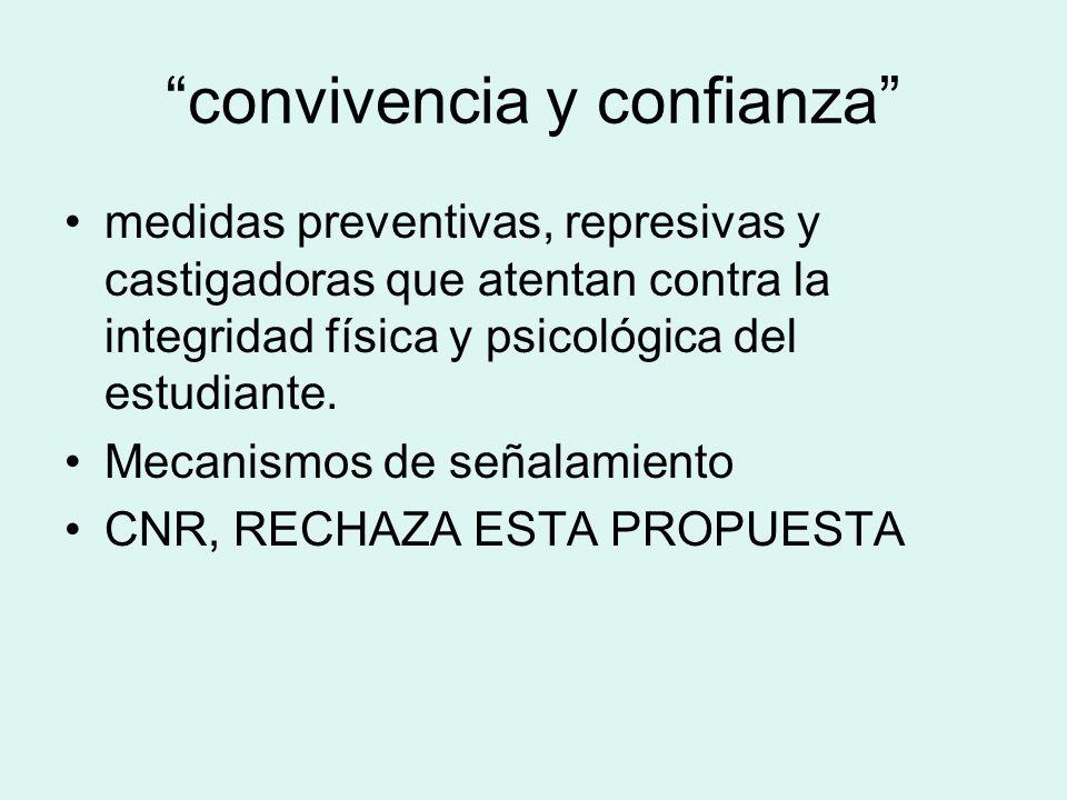 convivencia y confianza medidas preventivas, represivas y castigadoras que atentan contra la integridad física y psicológica del estudiante. Mecanismo
