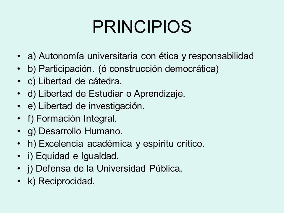 PRINCIPIOS a) Autonomía universitaria con ética y responsabilidad b) Participación. (ó construcción democrática) c) Libertad de cátedra. d) Libertad d