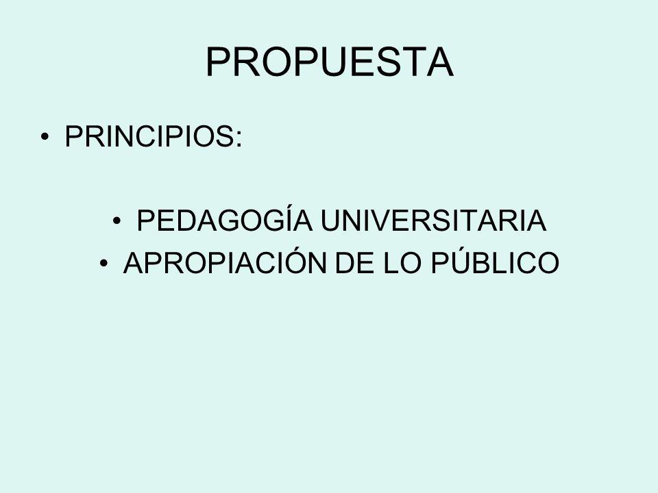PROPUESTA PRINCIPIOS: PEDAGOGÍA UNIVERSITARIA APROPIACIÓN DE LO PÚBLICO