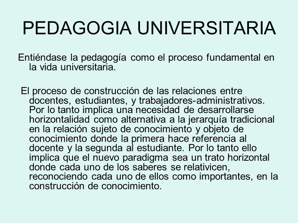 PEDAGOGIA UNIVERSITARIA Entiéndase la pedagogía como el proceso fundamental en la vida universitaria. El proceso de construcción de las relaciones ent