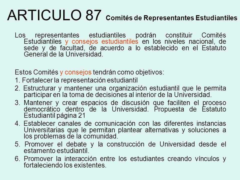 ARTICULO 87 Comités de Representantes Estudiantiles Los representantes estudiantiles podrán constituir Comités Estudiantiles y consejos estudiantiles