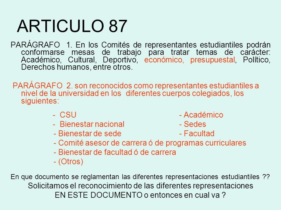 ARTICULO 87 PARÁGRAFO 1. En los Comités de representantes estudiantiles podrán conformarse mesas de trabajo para tratar temas de carácter: Académico,