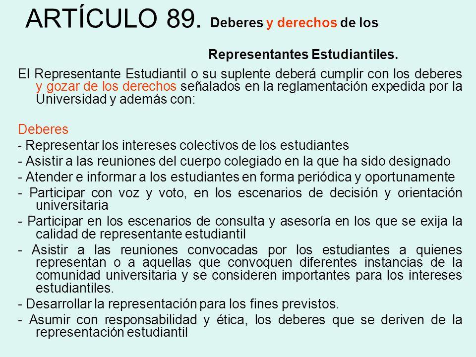ARTÍCULO 89. Deberes y derechos de los Representantes Estudiantiles. El Representante Estudiantil o su suplente deberá cumplir con los deberes y gozar