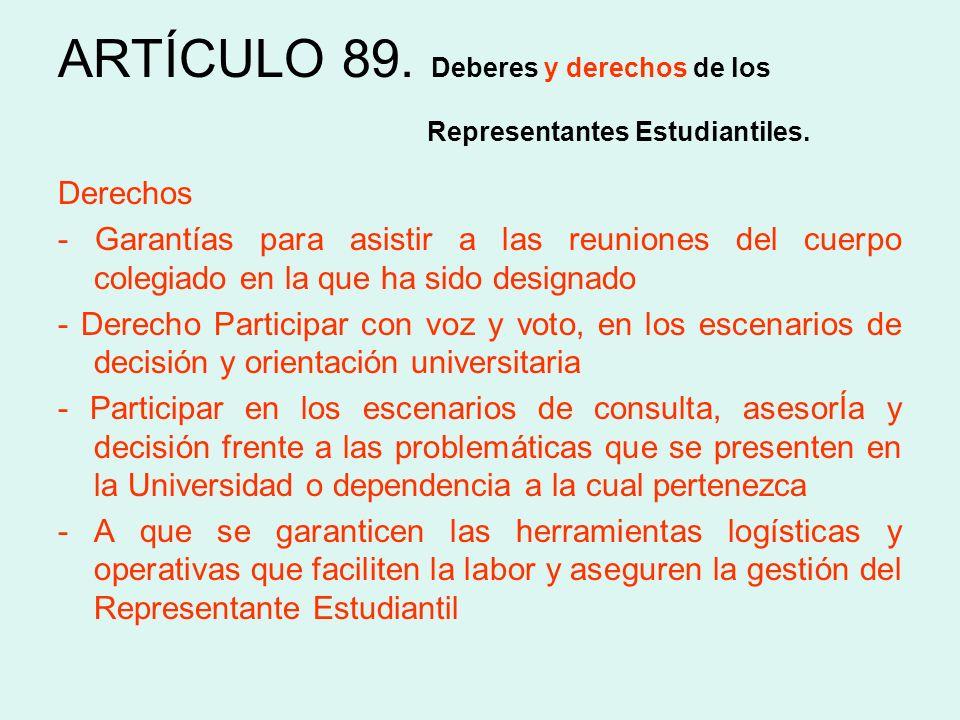 Derechos - Garantías para asistir a las reuniones del cuerpo colegiado en la que ha sido designado - Derecho Participar con voz y voto, en los escenar
