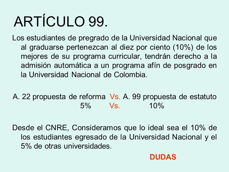 ARTÍCULO 99. Los estudiantes de pregrado de la Universidad Nacional que al graduarse pertenezcan al diez por ciento (10%) de los mejores de su program