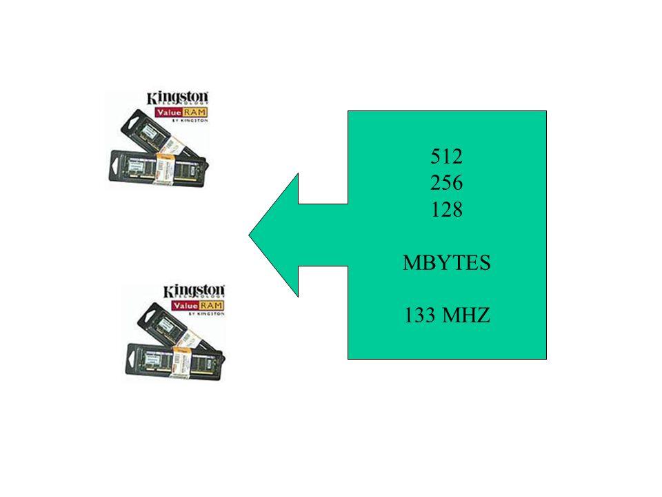 512 256 128 MBYTES 133 MHZ