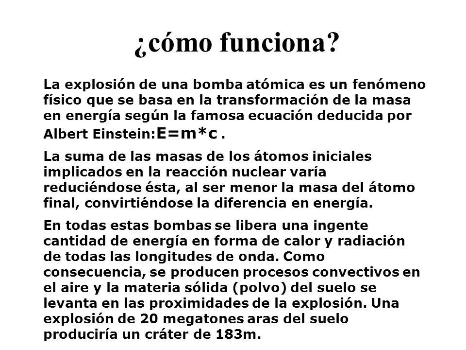 ¿cómo funciona? La explosión de una bomba atómica es un fenómeno físico que se basa en la transformación de la masa en energía según la famosa ecuació