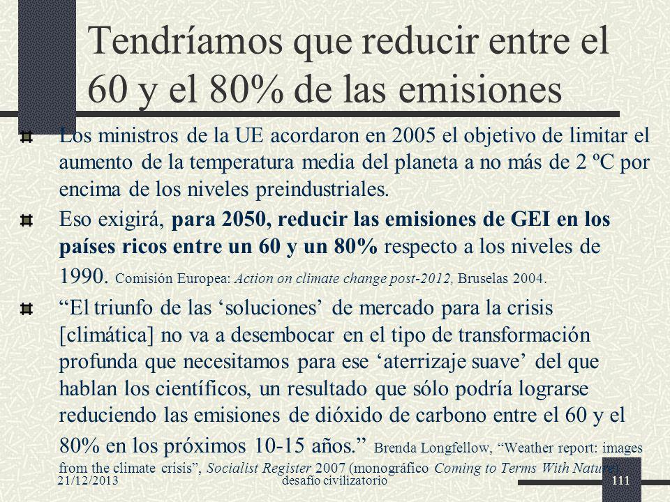 21/12/2013desafío civilizatorio111 Tendríamos que reducir entre el 60 y el 80% de las emisiones Los ministros de la UE acordaron en 2005 el objetivo d