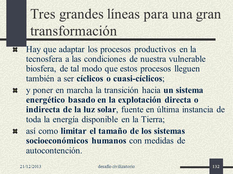 21/12/2013desafío civilizatorio132 Tres grandes líneas para una gran transformación Hay que adaptar los procesos productivos en la tecnosfera a las co