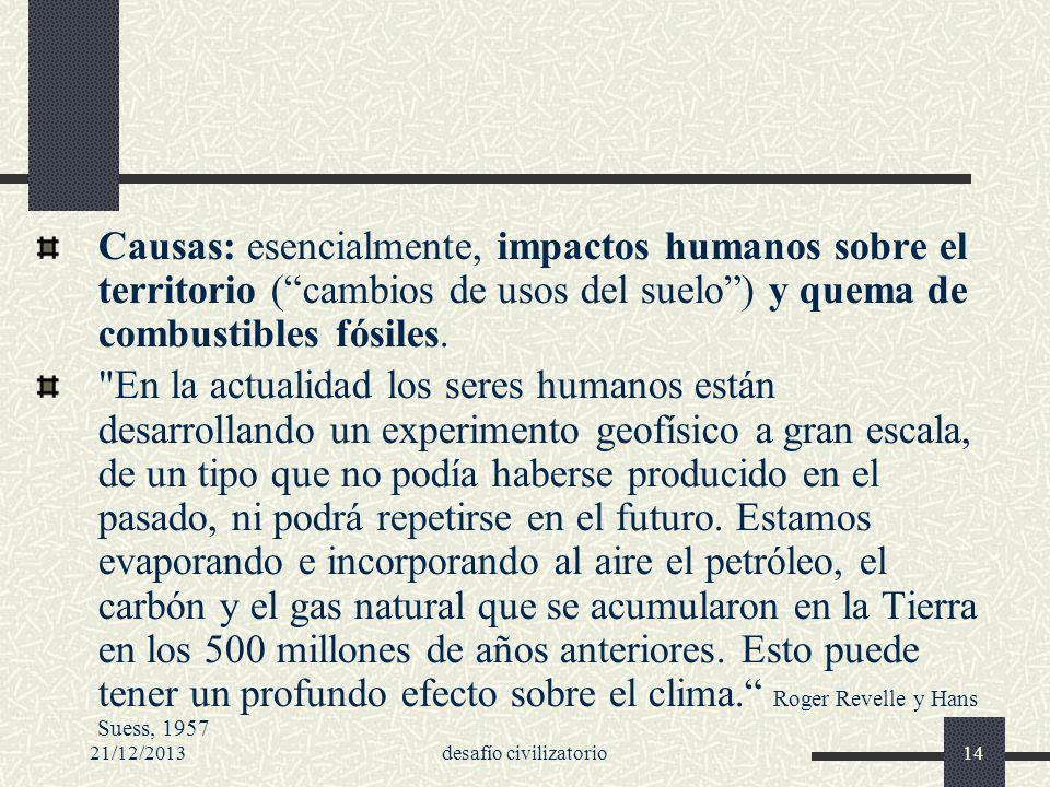 21/12/2013desafío civilizatorio14 Causas: esencialmente, impactos humanos sobre el territorio (cambios de usos del suelo) y quema de combustibles fósi