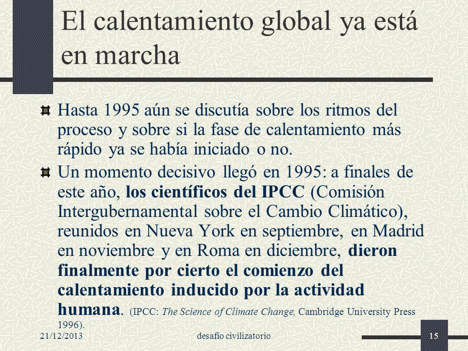 21/12/2013desafío civilizatorio15 El calentamiento global ya está en marcha Hasta 1995 aún se discutía sobre los ritmos del proceso y sobre si la fase