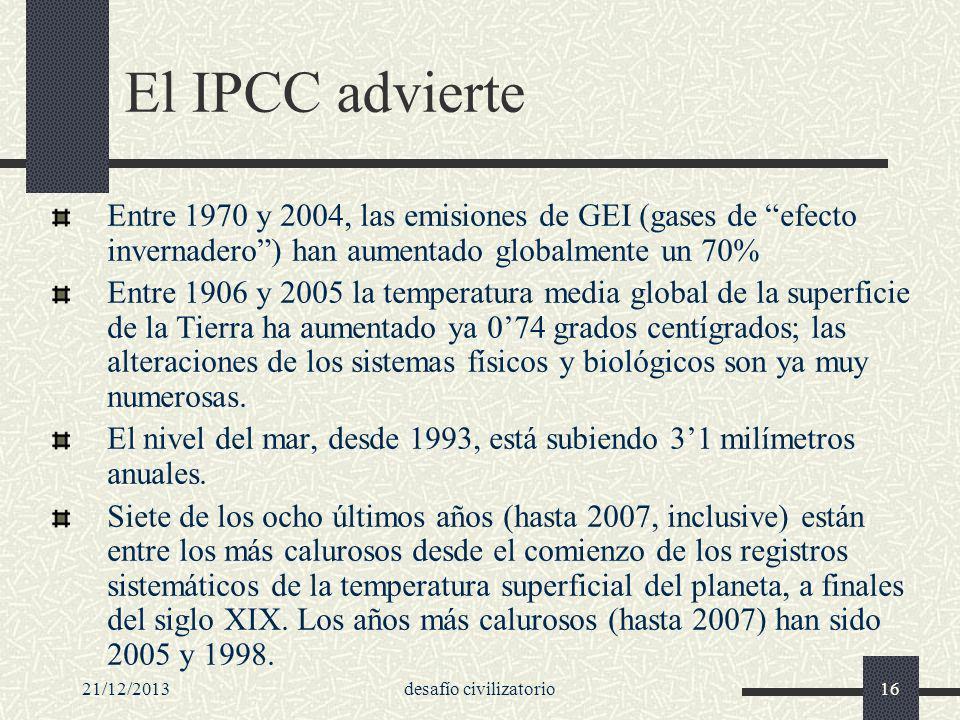21/12/2013desafío civilizatorio16 El IPCC advierte Entre 1970 y 2004, las emisiones de GEI (gases de efecto invernadero) han aumentado globalmente un