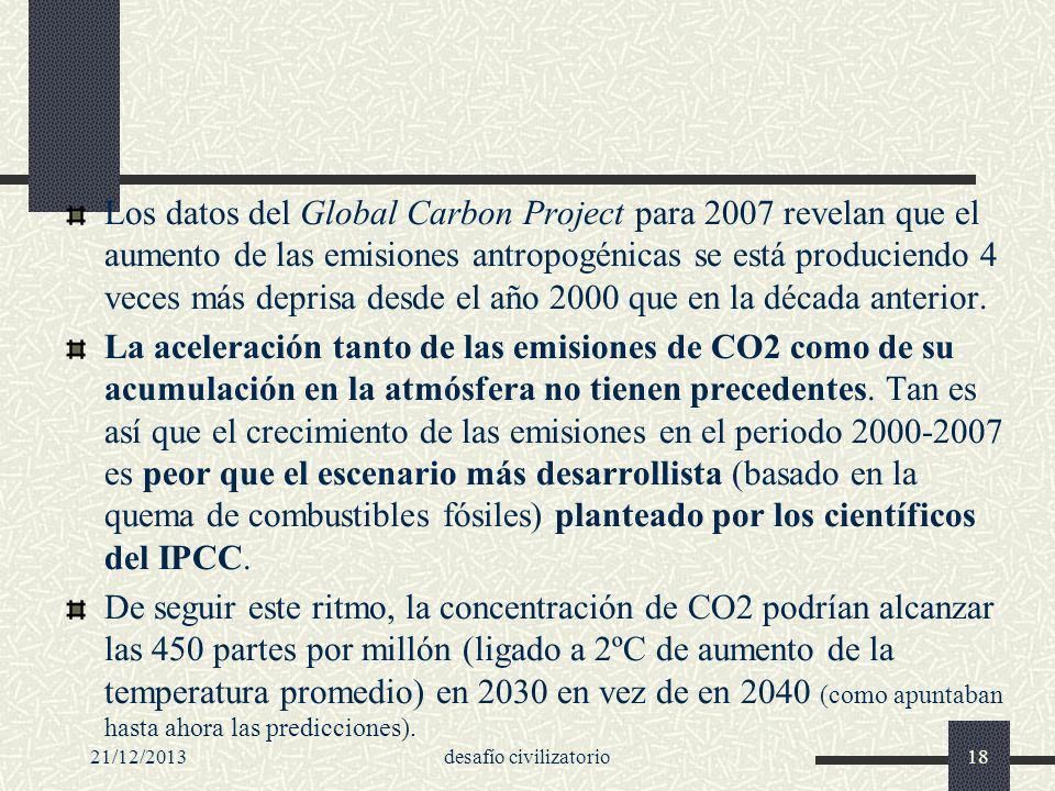 21/12/2013desafío civilizatorio18 Los datos del Global Carbon Project para 2007 revelan que el aumento de las emisiones antropogénicas se está produci
