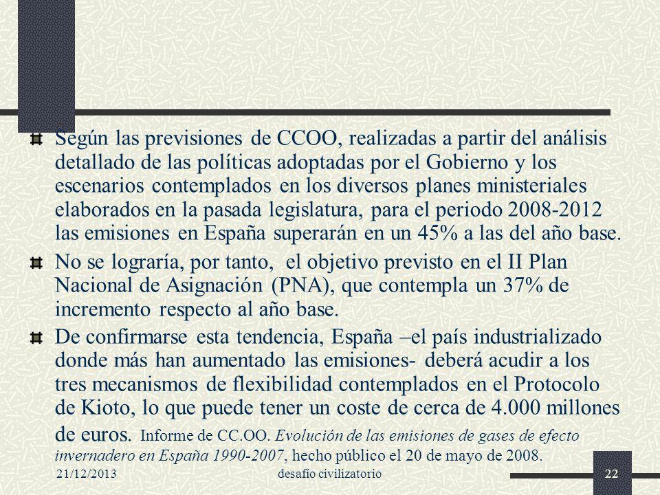 21/12/2013desafío civilizatorio22 Según las previsiones de CCOO, realizadas a partir del análisis detallado de las políticas adoptadas por el Gobierno