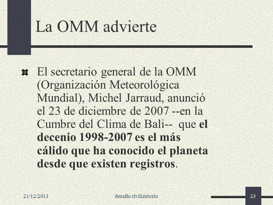 21/12/2013desafío civilizatorio23 La OMM advierte El secretario general de la OMM (Organización Meteorológica Mundial), Michel Jarraud, anunció el 23