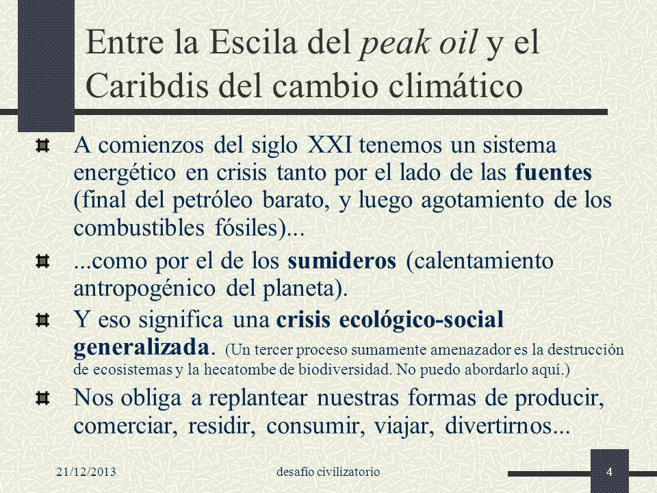 21/12/2013desafío civilizatorio115 El tiempo se nos está acabando Pero el tiempo se nos está acabando: si no se toman enérgicas medias para reducir las emisiones de gases de efecto invernadero, la concentración de los mismos podría duplicar los niveles preindustriales ya en 2035, haciendo casi inevitable un aumento de las temperaturas promedio de más de 2ºC con respecto a los niveles preindustriales (considerado por los científicos, y también por el estamento político de la UE, como el nivel a partir del cual las consecuencias se tornarían incontrolables y sumamente peligrosas).