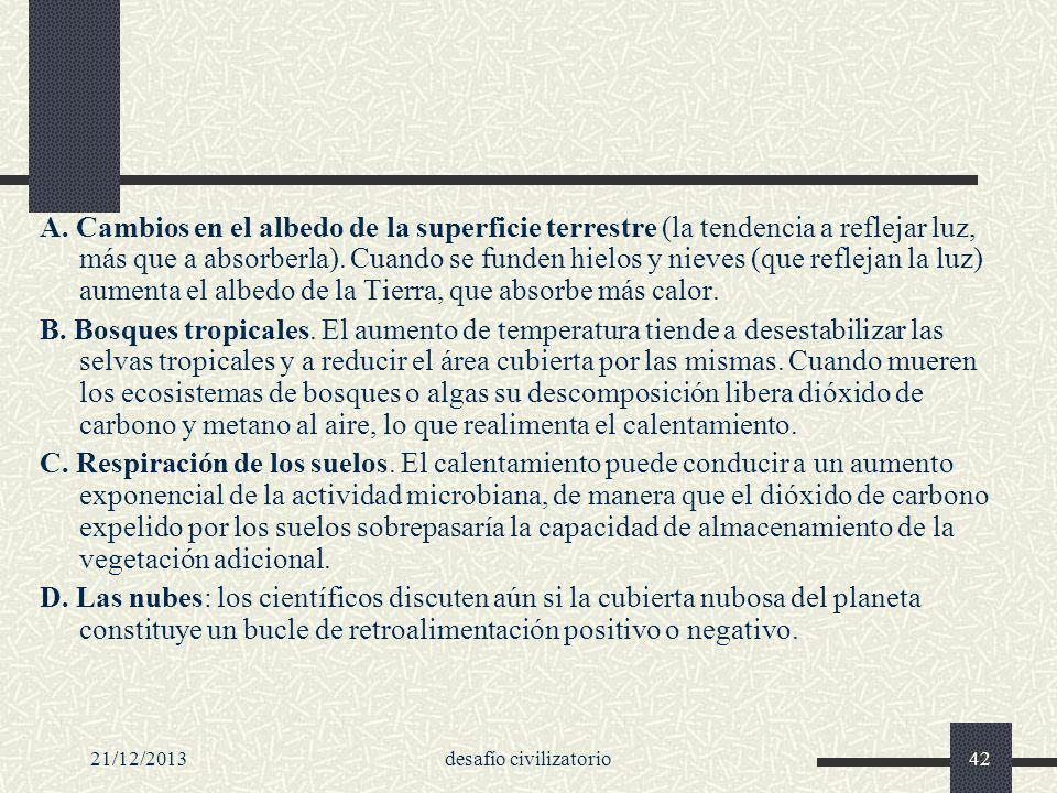 21/12/2013desafío civilizatorio42 A. Cambios en el albedo de la superficie terrestre (la tendencia a reflejar luz, más que a absorberla). Cuando se fu