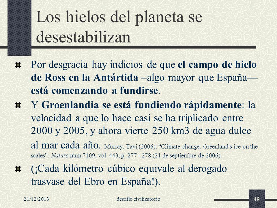 21/12/2013desafío civilizatorio49 Los hielos del planeta se desestabilizan Por desgracia hay indicios de que el campo de hielo de Ross en la Antártida